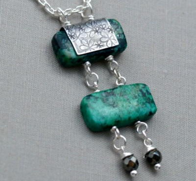 Turquoise Stone Ladder Necklace