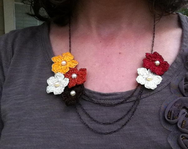 Fall Flowers Crochet Necklace