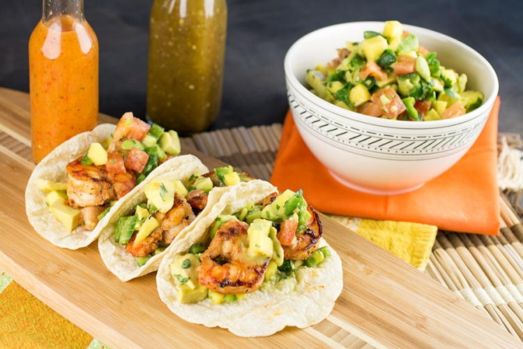 Shrimp Tacos with Mango Avocado Salsa   FaveHealthyRecipes.com