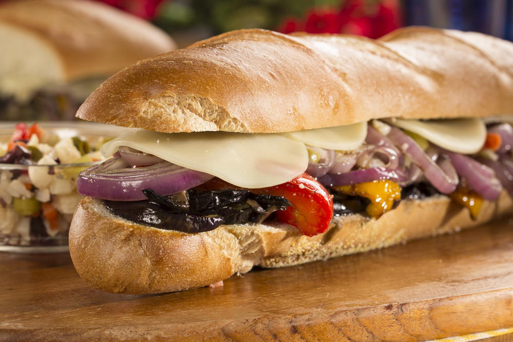 Overstuffed grilled veggie hoagie for Prime fish and hoagie