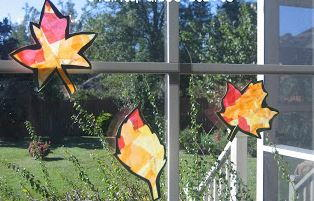 Stained Glass Autumn Leaves