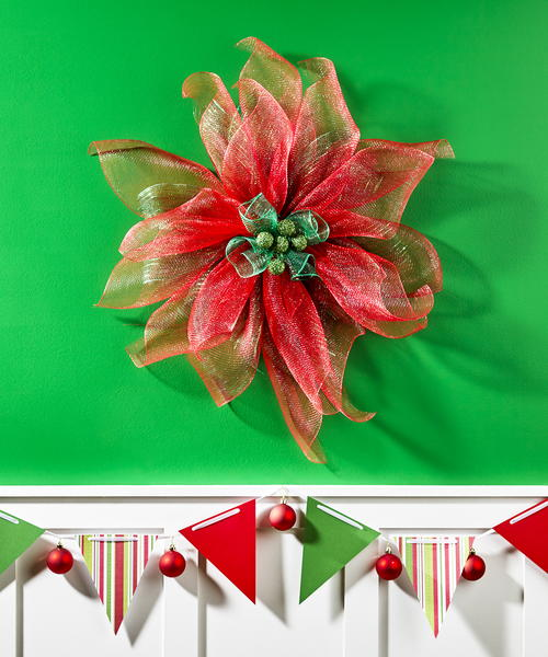 Decorative Mesh Poinsettia Flower