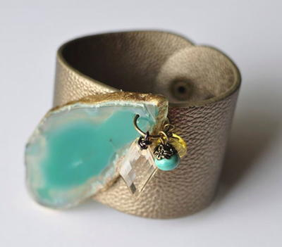 Aqua Agate Leather Cuff