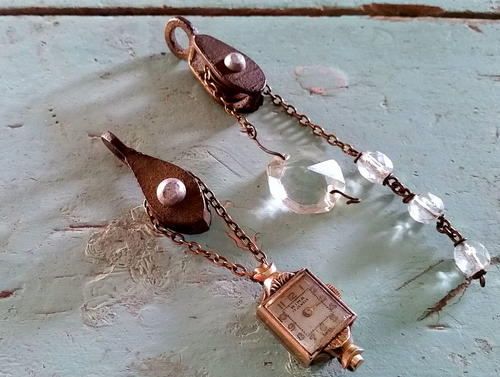 Clear Crystal Steampunk Pulley Pendant