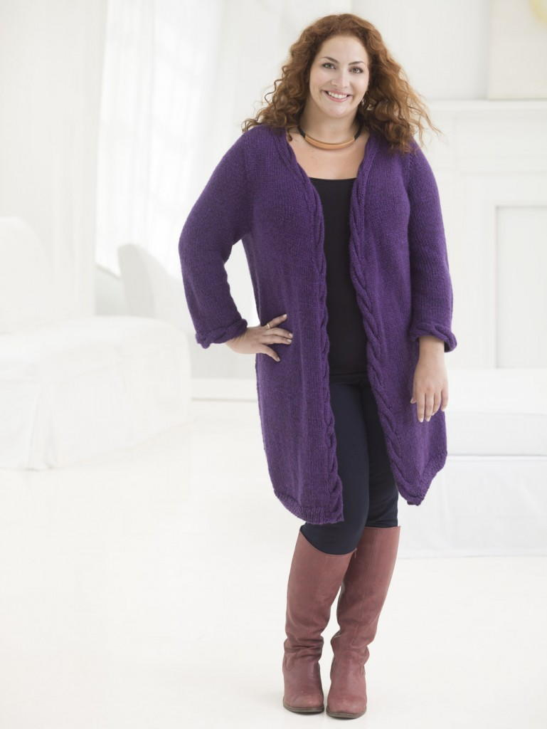 Knitting Cardigan Design : Knit cabled cardigan pattern favecrafts