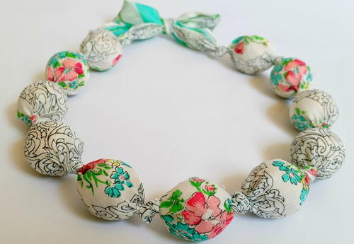 Wrapped-Bead Fabric Necklace