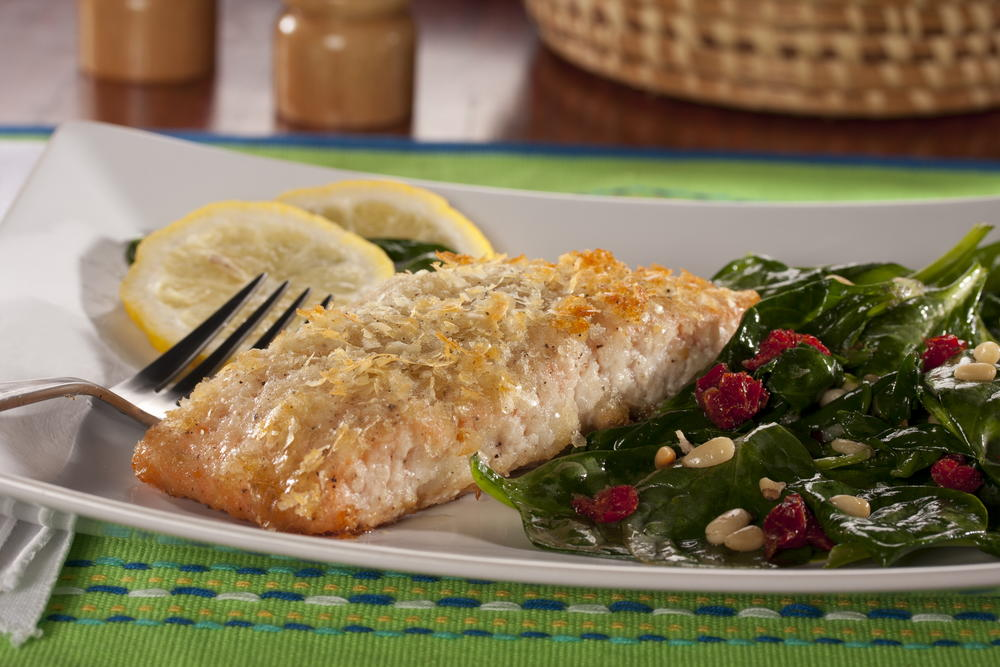 Potato crusted salmon for Prime fish brunch