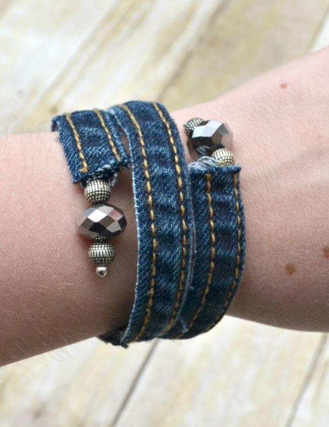 Denim Diy Wrap Bracelet Allfreejewelrymaking Com
