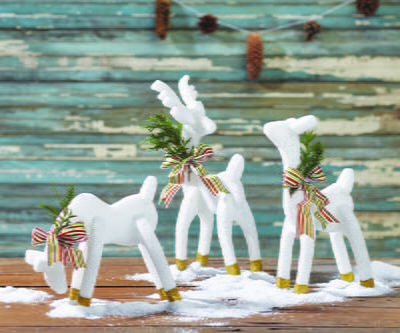 Gold Dipped Frosted Reindeer Trio