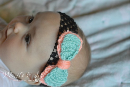 Double Bow Crochet Headband