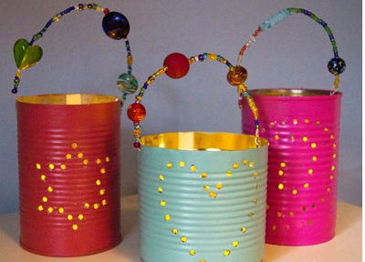 Homemade Tin Can Lanterns