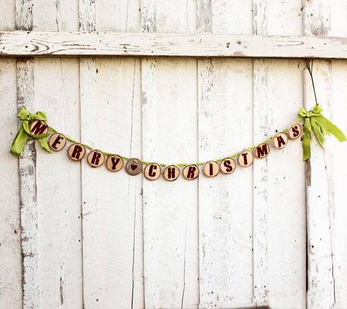 Merry Christmas Wood Slice Garland