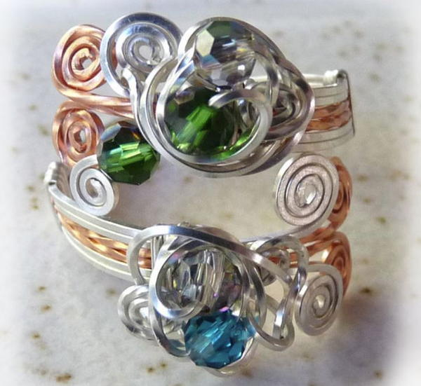 Crystal Swirl Wire Ring