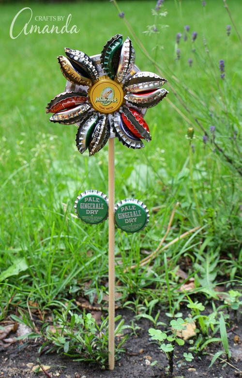 Recycled Bottle Cap Flower Garden Stake