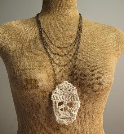 Crochet Skull Necklace