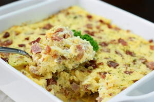 Around-the-Clock Ham and Cheese Grits Casserole
