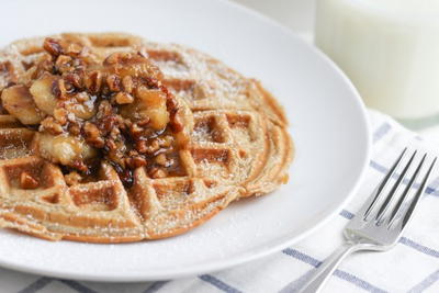 Buttermilk Waffles with Banana Nut Syrup