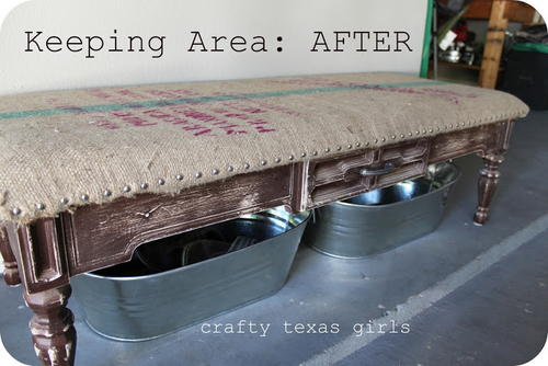 DIY Burlap Coffee Bag Bench