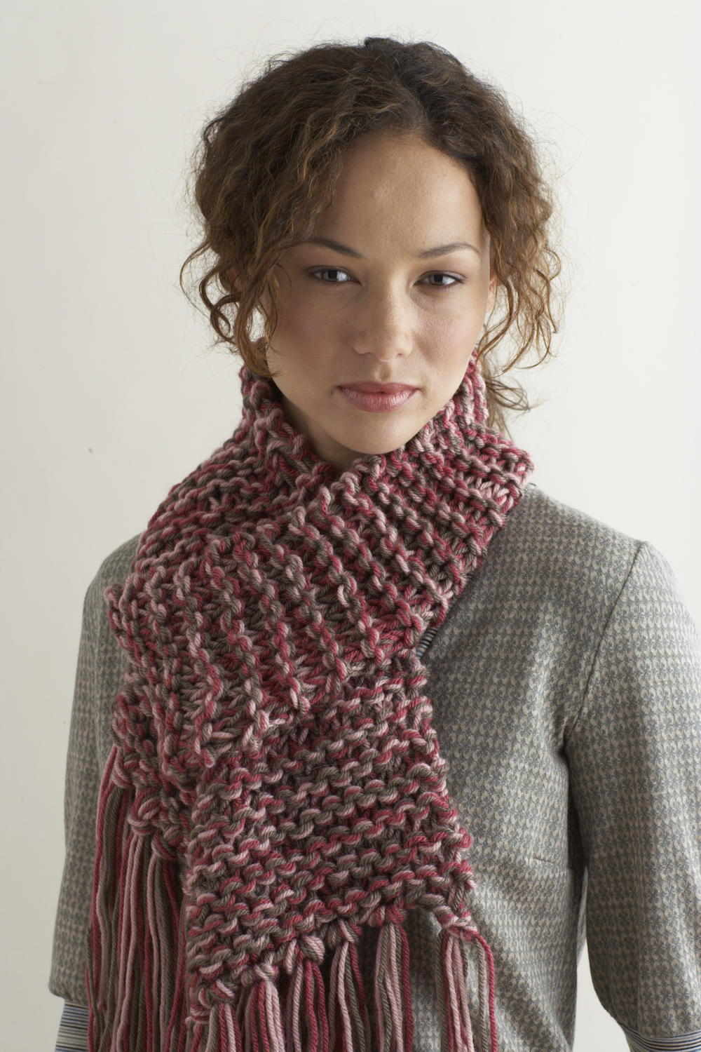 Knitting Pattern For Yarn Over Scarf : Knit Two Hours or Less Scarf FaveCrafts.com