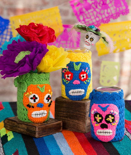 Day of the Dead Crochet Jar Cozies