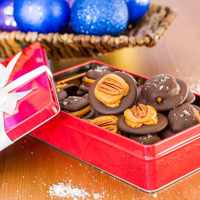 Chocolate Covered Pretzel Turtle Clusters