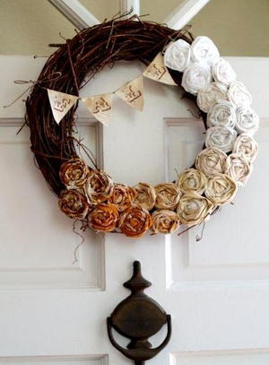 Watercolored Coffee Filter Wreath | AllFreeHolidayCrafts.com