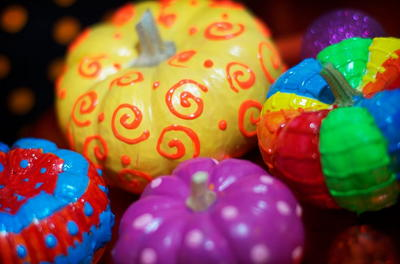 Colorful Painted Pumpkins