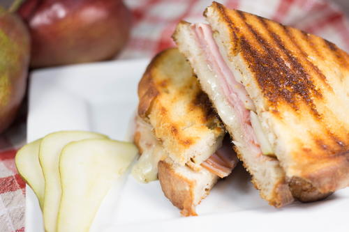 Brie Ham and Pear Panini