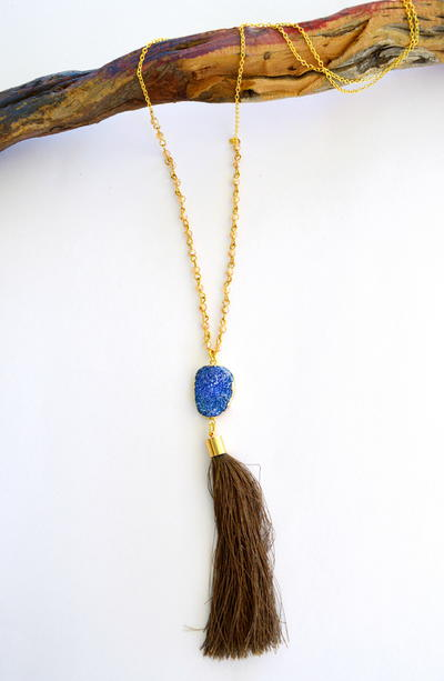 Agate and Tassel Necklace