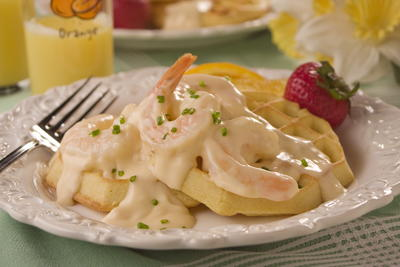 Shrimp Newburg Waffles