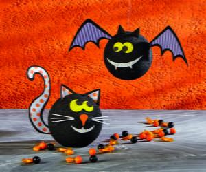 Halloween Bat and Cat