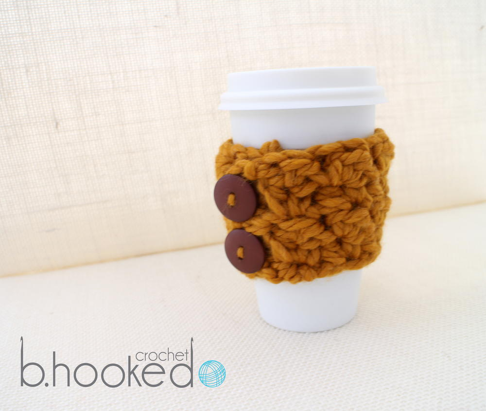 Pumpkin Spice Crochet Coffee Cozy | AllFreeCrochet.com