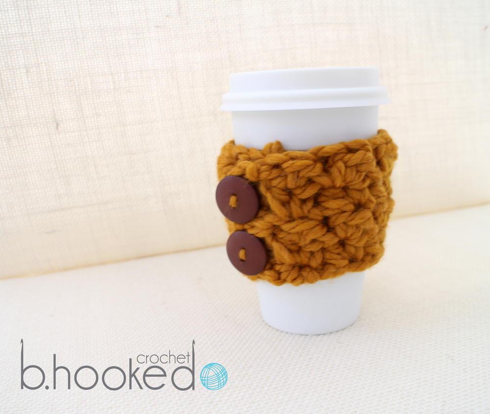 Pumpkin Spice Crochet Coffee Cozy | AllFreeCrochet.com