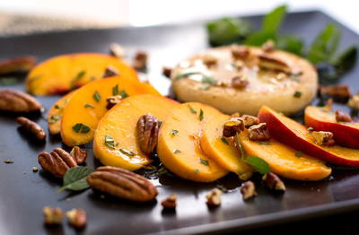 Fried Grits with Peaches and Pecans