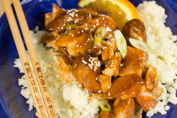 "Paleo Slow Cooker Orange Chicken and ""Rice"""