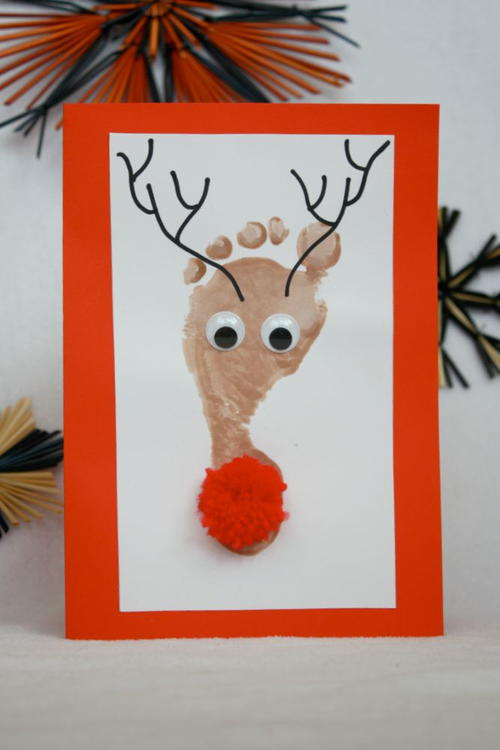 Kids Footprint Reindeer Christmas Card