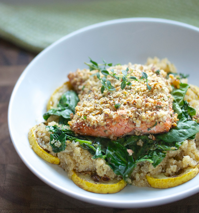 Almond-Crusted Quinoa Salmon