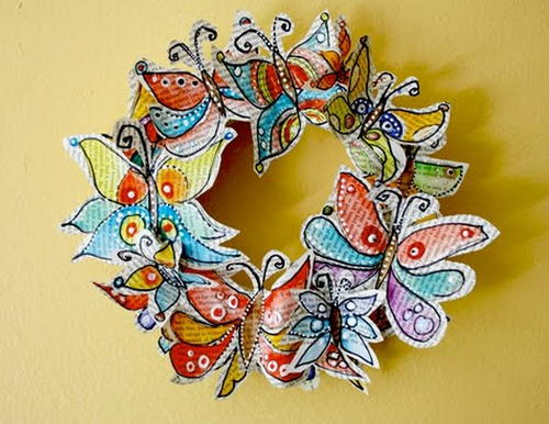 Recycled Butterfly Wreath