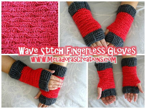 Wave Stitch Crochet Fingerless gloves