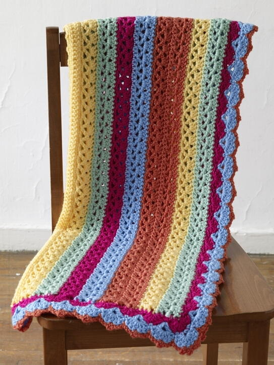 Bright Stripes Baby Afghan