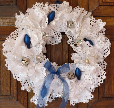 Blue and White Paper Doily Wreath