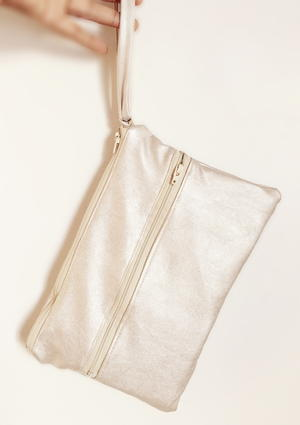 Champagne Leather Clutch Pattern