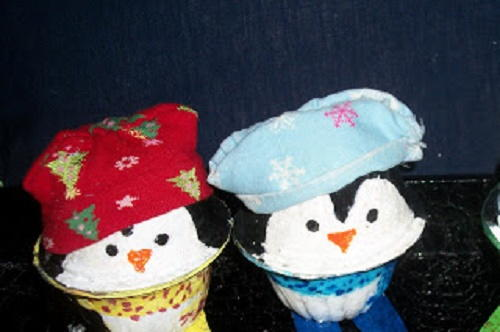 Recycled Painted Christmas Penguins