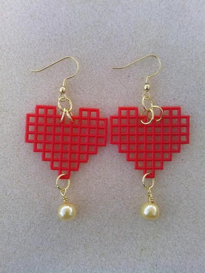 Red Heart Golden Pearl Drop Earrings