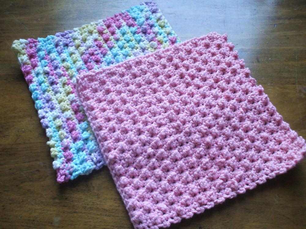 Crochet Baby Washcloth Pattern : Easy Berry Stitch Washcloth AllFreeCrochet.com