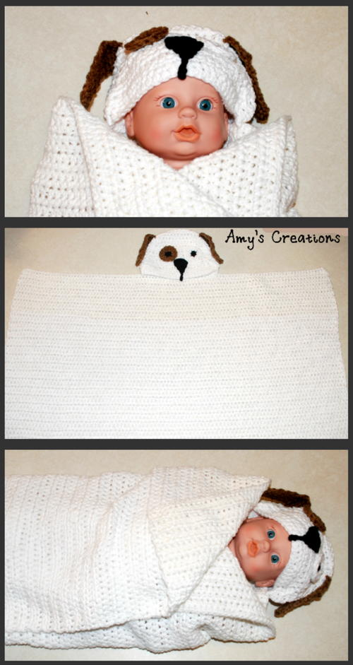 Crochet Hooded Puppy Dog Towel