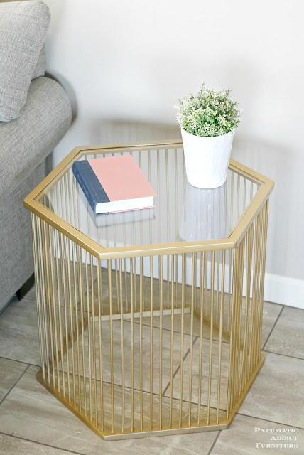 Gold Hexagon DIY End Table   DIYIdeaCenter.com