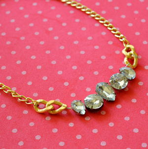 Rhinestone and Chain Statement Necklace