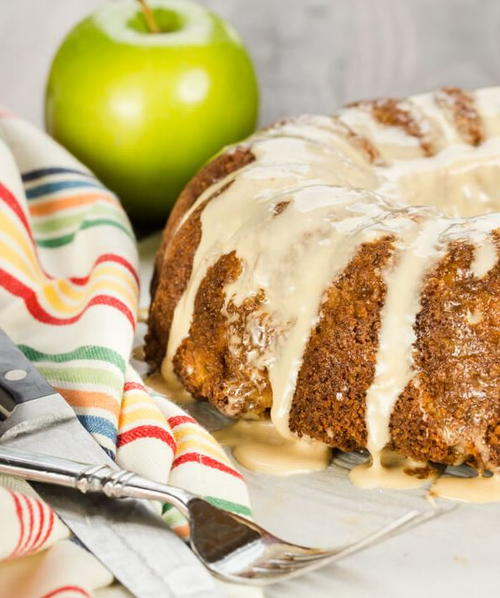 Apple Bundt with Salted Caramel Glaze