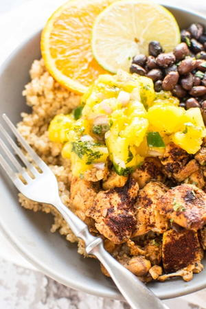Fully Loaded Slow Cooker Chicken Bowls